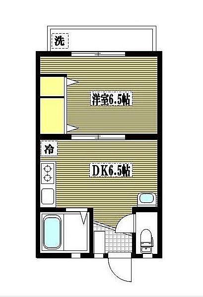 1DKの具体例1(古いタイプ)